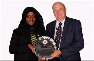2015 MP Citizenship Award Winner Ameera Abdullahia with Richard Cobb
