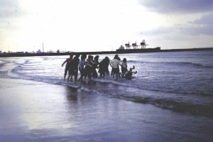 Easter 1979 Rugby Tour Portalbot - 3 Sam Rhodes takes dunking in sea at Port Talbot